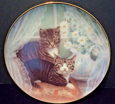 "Tabby Cat Plate ""Romeo & Juliet"" 1987 American Artists Susan Leigh tiger kitten"