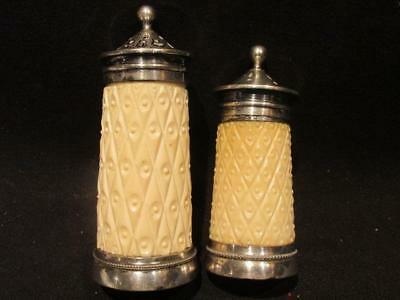 Silver Plate & Celluloid Pair of Vintage Shakers Salt & Pepper