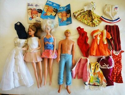 LOT vintage BARBIE and KEN DOLLS w/CLOTHING and 3 CATALOGS