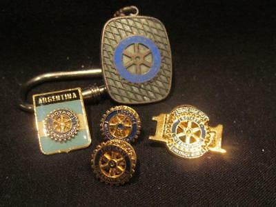Rotary Club Interesting Group of Items Key Ring, Pins Argentina & More