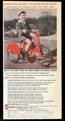 1947 Wavex Wizard streamlined 3 wheel cycle tricycle photo vintage print ad