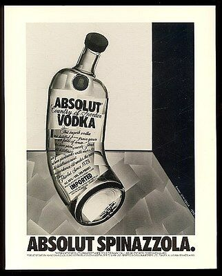 1991 Absolut Spinazzola Gianni Spinazzola vodka bottle art vintage print ad