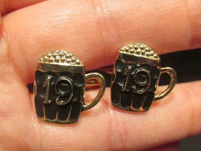 "19th Hole Beer Mug Style Pair Retro Cufflinks with Golf Ball ""Foam"" signed Gilt"