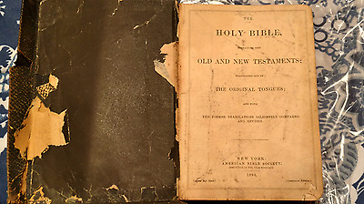 Vintage Holy Bible New York American Bible Society 1893 The Original Tongues