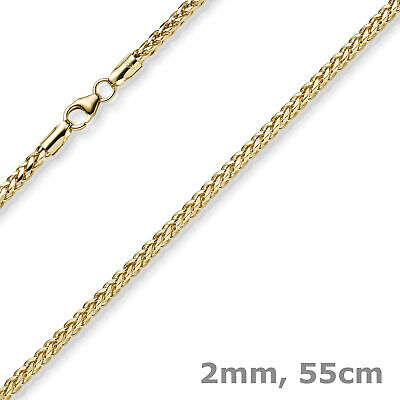 2mm Braided Chain Chain Collier Necklace Shiny from 585 Gold Yellow Gold 55cm