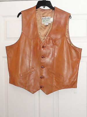 Vintage WRANGLER OUTERWEAR Western BROWN LambSkin LEATHER Vest XL MADE IN USA