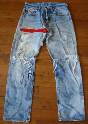 Vtg Levis Patchwork Worn Torn Whiskered 501 Redline Jeans Tagged Size 30 x 33