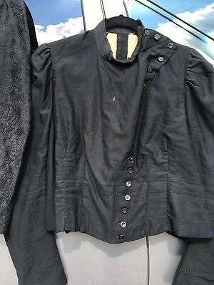 Victorian ANTIQUE FITTED JACKET~5 JET BUTTONS~DIAGONAL FRONT~HOLES UNDERARM ASIS
