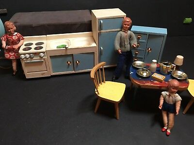 Vntg Germany Miniature Wood Dollhouse Furniture~German Lot~Bodo Hennig~Caco Doll