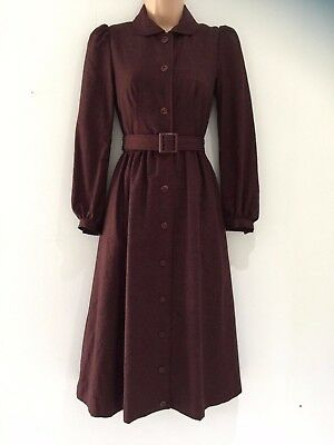 Vintage 70's Aubergine Wool Mix Long Sleeve 40's Style Belted Winter Day Dress 6