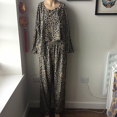 Vintage Leopard Print Three Piece Crop Top High Waisted Trousers Size UK 11