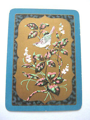 Antique Playing Cards 1 Single Swap Card Wide Gilded Framed Bird On Branch