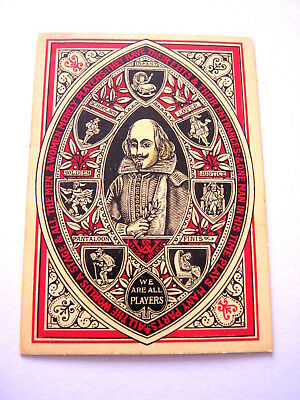 Antique Playing Cards 1 Single Swap Square Corner No Indice Spade Ace Shakespear