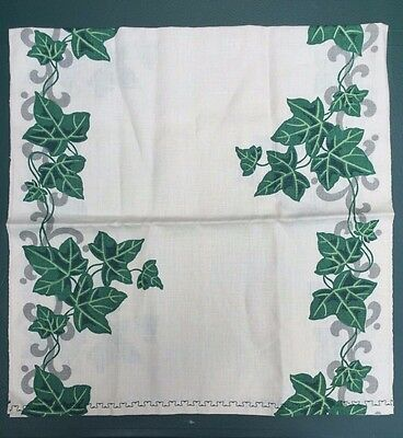 "Vtg Linen Printed Dish/Hand TOWEL Ivy Unused 35"" X 17"""