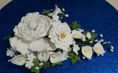 "10"" White Peony, Calla Lily and Apple Blossom Wedding Cake Topper Decoration"