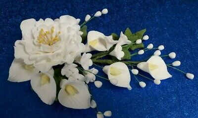 """6.5"""" White Peony, Calla Lily and Apple Blossom Wedding Cake Topper Decoration"""