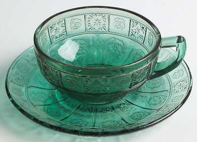 Jeannette Glass DORIC AND PANSY TEAL GREEN Child's Cup & Saucer 931456
