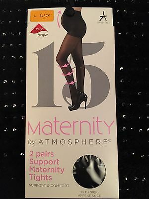 Primark 2 Pairs Support Maternity Tights Support And Comfort Size Large Black