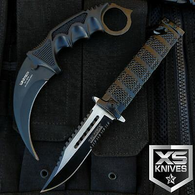 2pc Spring Assisted Tactical Survival Hunting knife & Fixed Blade Karambit Claw