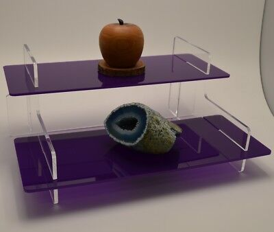 2 Tier Acrylic Display Purple Shelf Retail Collectable Display Stand Perspex