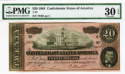 1864 $20 Confederate States Of America T-67-3 - Red Variety Vf30 Epq Pmg