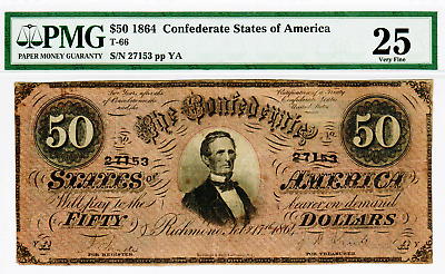 1864 - $50 Confederate States Of America - T-66-4 Red Variety Vf25 Pmg