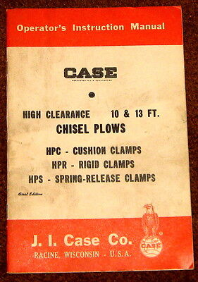 J.I. Case High Clearance 10 and 13 foot Chisel Plows Operator's Manual 1960 c