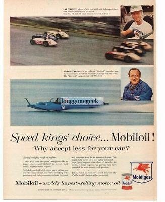 1956 MOBIL Mobiloil Motor Oil Donald Campbell Bluebird Water Speed Record Vtg Ad
