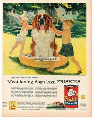 1956 Friskies Dog Food Kids Washing St. Bernard art Douglas Crockwell Vtg Ad