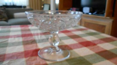 Clear Glass Compote With Diamond  Design  Unbranded