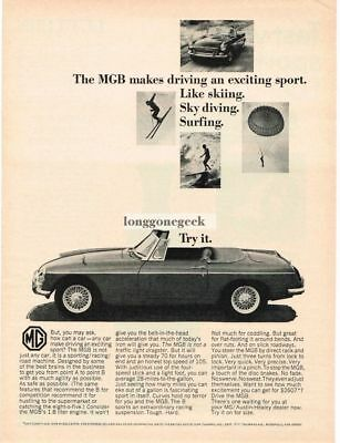 1966 MGB Convertible Makes Driving An Exciting Sport Vtg Print Ad