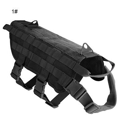 S M L XL Tactical Police Dog Military Vest Service Canine Molle Harness Dog Wear