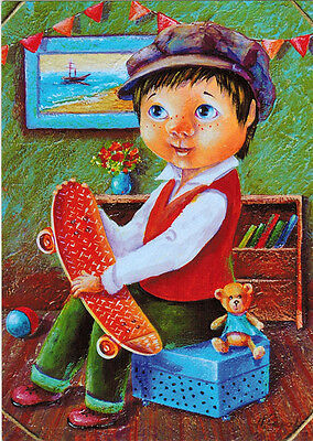 BOY WITH TOYS AND SKATEBOARD Modern postcard