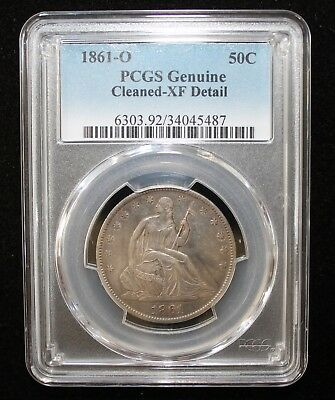 Nicely Toned 1861-O Seated Liberty Half Dollar XF Details
