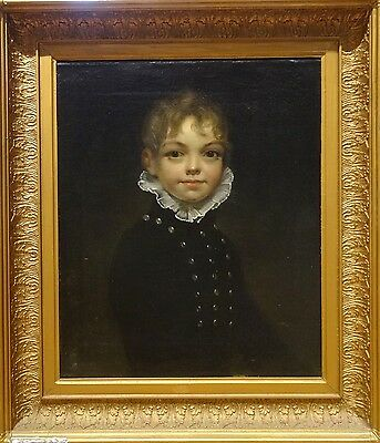 Fine Large 18th Century English Master Portrait Of Of A Boy Antique Oil Painting