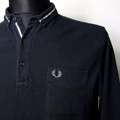 """Vtg FRED PERRY polo shirt INDIE M MEDIUM 40""""chest mod weller oi long sleeved"""