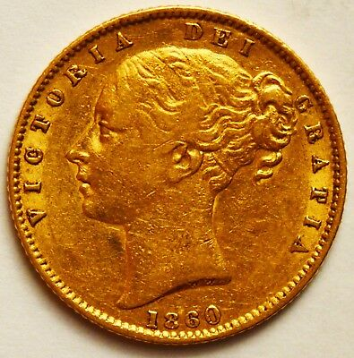 """SCARCE 1860 """"Large 0"""" Victoria Young Head Gold Shield Sovereign"""