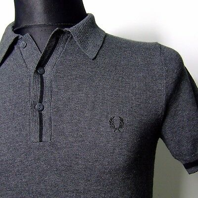 """Vtg FRED PERRY polo shirt INDIE small s 36""""chest mod weller summer knitted slim"""