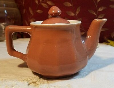 VINTAGE Hall's DARK SANDY BROWN Ceramic Teapot /Creamer