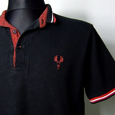 """Vtg FRED PERRY polo shirt INDIE M MEDIUM 42""""chest mod question mark limited"""