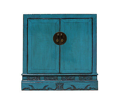 Chinese Distressed Rustic Blue Foyer Console Table Cabinet cs3192