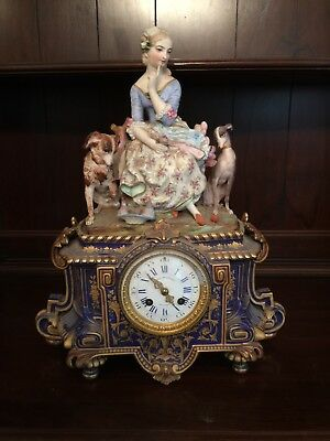Antique Ball Black & Co Figural Mantel Clock Woman With Dogs