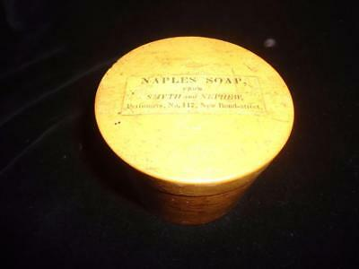 Antique 19C Georgian Naples Soap pot Smyth & Nephew London perfumers treen wood