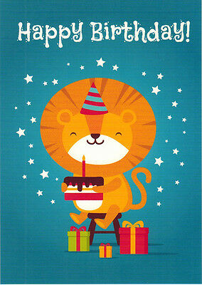 Lion with gifts and cake HAPPY BIRTHDAY Modern Russian postcard