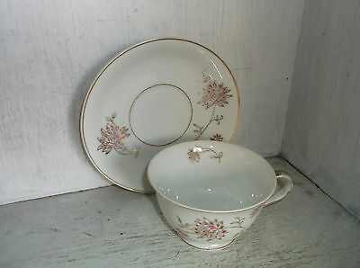 BERKSHIRE Fine China Occupied Japan Pink Floral & Gold Cup & Saucer