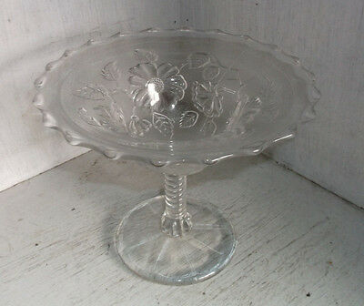 """Vintage NORTHWOOD Blossom Time Compote Clear 6"""""""
