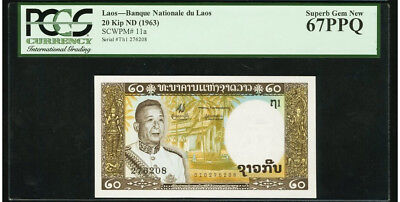Banque Nationale du Laos 20 Kip 1963 P-11a PCGS Superb Gem Unc 67 PPQ