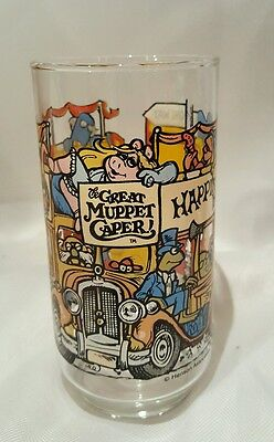 The Great Muppet Caper Bus Vintage Glass Cup - Bright Decal - Euc