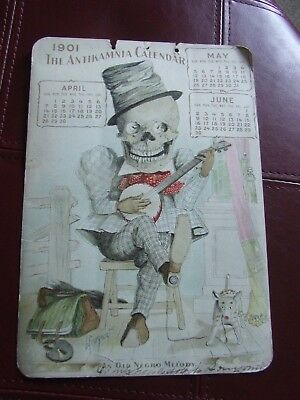 Antikamnia 1901 Calender (April, May, June) Skeleton with hat on playing a banjo