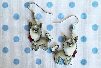 Long Hair Chihuahua Pierced Earrings - Dog / Puppy - Handcrafted - Very Sweet